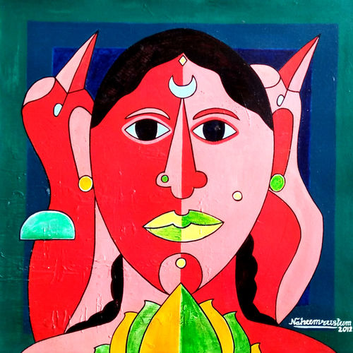 suvasini, 16 x 16 inch, naheem rustum,paintings,figurative paintings,paintings for office,canvas,acrylic color,16x16inch,GAL034410271