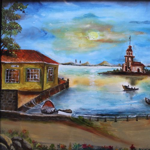 affordable  : village temple, 19 x 14 inch, mamta singh,paintings,landscape paintings,paintings for living room,canvas,oil,19x14inch,GAL0424210274