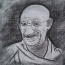gandhiji , 17 x 18 inch, chindu sudheer,portrait drawings,paintings for office,paper,charcoal,17x18inch,GAL0442210279