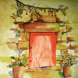 that door, 11 x 9 inch, manpreet kaur,nature paintings,paintings for living room,thick paper,watercolor,11x9inch,GAL04341028Nature,environment,Beauty,scenery,greenery,door,trees,water,beautiful,leaves