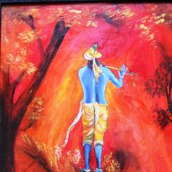 affordable  : krishna, 15 x 20 inch, mamta singh,paintings,religious paintings,paintings for living room,canvas,pastel color,15x20inch,GAL0424210280