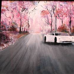 affordable  : pink highways, 20 x 15 inch, mamta singh,paintings,landscape paintings,paintings for living room,canvas,oil,20x15inch,GAL0424210281
