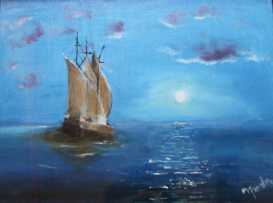 affordable  : the lonely voyage, 20 x 15 inch, mamta singh,paintings,landscape paintings,paintings for living room,canvas,oil,20x15inch,GAL0424210282
