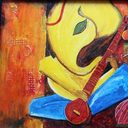 affordable  : ganpati : musician of life, 22 x 15 inch, mamta singh,paintings,religious paintings,paintings for living room,canvas,oil,22x15inch,GAL0424210285