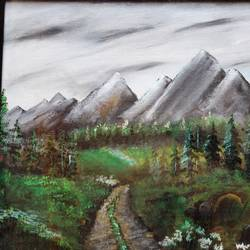 affordable  : hill heights, 20 x 15 inch, mamta singh,paintings,landscape paintings,paintings for living room,canvas,oil,20x15inch,GAL0424210286
