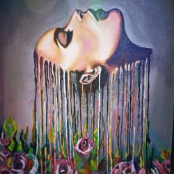 girl and flower, 20 x 28 inch, sanjeev  kumar ,paintings,figurative paintings,paintings for living room,canvas,acrylic color,20x28inch,GAL0456810288