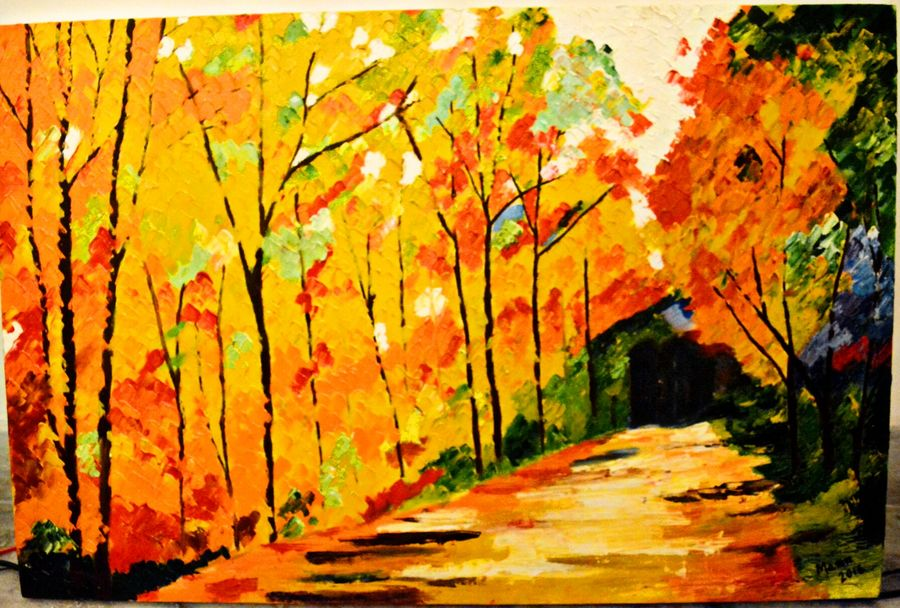 the fall( knife ), 20 x 30 inch, manpreet kaur,nature paintings,paintings for living room,canvas,oil,20x30inch,GAL04341029Nature,environment,Beauty,scenery,greenery
