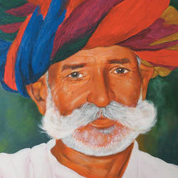 old man of rajastan, 20 x 24 inch, muralidhar suvarna,paintings,portrait paintings,paintings for living room,canvas,acrylic color,20x24inch,GAL0456910292