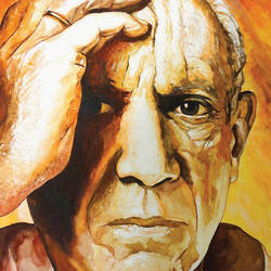 pablo picasso, 17 x 23 inch, muralidhar suvarna,paintings,portrait paintings,paintings for office,handmade paper,watercolor,17x23inch,GAL0456910293