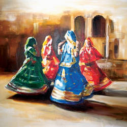 rajastani dance, 24 x 20 inch, muralidhar suvarna,paintings,impressionist paintings,paintings for bedroom,canvas,acrylic color,24x20inch,GAL0456910297