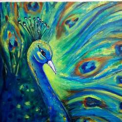 peacock 1, 17 x 21 inch, sagar jakz,paintings,nature paintings,paintings for living room,canvas,acrylic color,17x21inch,GAL0457010301Nature,environment,Beauty,scenery,greenery