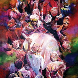 holi, 20 x 24 inch, muralidhar suvarna,paintings,expressionist paintings,paintings for living room,canvas,acrylic color,20x24inch,GAL0456910303