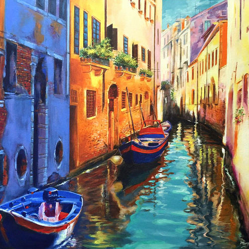 venice, 24 x 20 inch, muralidhar suvarna,paintings,landscape paintings,paintings for living room,canvas,acrylic color,24x20inch,GAL0456910304