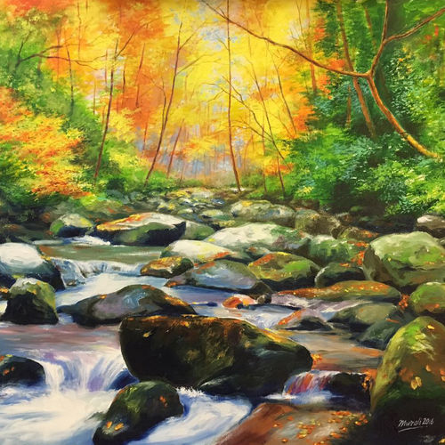 landscape, 24 x 20 inch, muralidhar suvarna,landscape paintings,paintings for living room,water fountain paintings,canvas,acrylic color,24x20inch,GAL0456910305