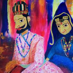 puppets, 16 x 12 inch, sagar jakz,paintings,folk art paintings,paintings for living room,canvas,acrylic color,16x12inch,GAL0457010313