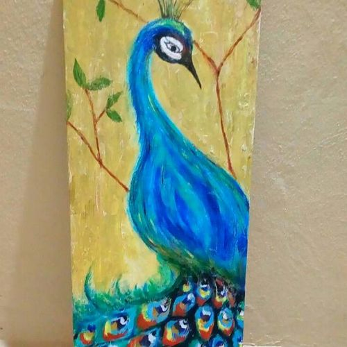 peacock 2, 12 x 34 inch, sagar jakz,paintings,animal paintings,paintings for living room,canvas,acrylic color,12x34inch,GAL0457010315