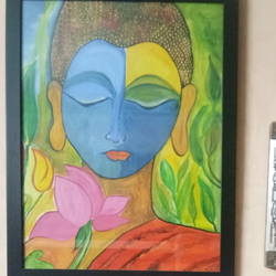 lord buddha, 17 x 21 inch, shrabana bhattacharyya,buddha paintings,paintings for living room,thick paper,watercolor,17x21inch,religious,peace,meditation,meditating,gautam,goutam,buddha,colourful,lotus,face,modern art,GAL0456210317
