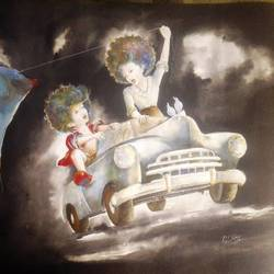 puppy and chicky on the drive, 28 x 22 inch, shiv kumar soni,figurative paintings,conceptual paintings,paintings for living room,figurative drawings,canvas,acrylic color,28x22inch,GAL0301032