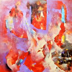 red dream, 46 x 50 inch, sandeep rawal ,paintings,abstract paintings,paintings for dining room,canvas,acrylic color,46x50inch,GAL0251110326