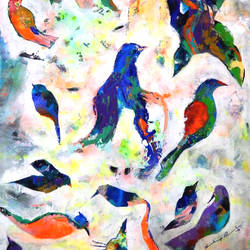 colorful bird, 27 x 35 inch, sandeep rawal ,paintings,abstract paintings,paintings for dining room,canvas,acrylic color,27x35inch,GAL0251110327