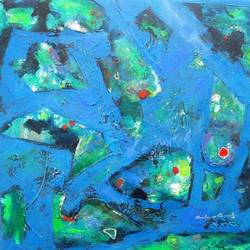blue ocean , 25 x 25 inch, sandeep rawal ,paintings,abstract paintings,paintings for dining room,canvas,acrylic color,25x25inch,GAL0251110329