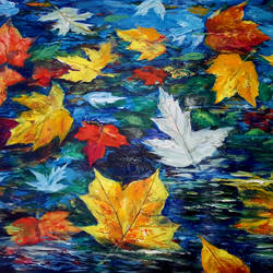 floating leaves, 24 x 19 inch, muralidhar suvarna,paintings,abstract paintings,paintings for living room,handmade paper,acrylic color,24x19inch,GAL0456910334