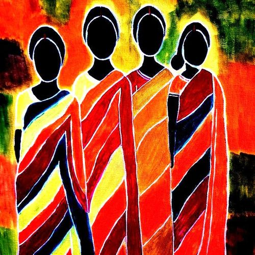 santhali women with colourful cloth, 20 x 16 inch, shuchita srivastava,expressionist paintings,paintings for living room,canvas,acrylic color,20x16inch,GAL0398410340