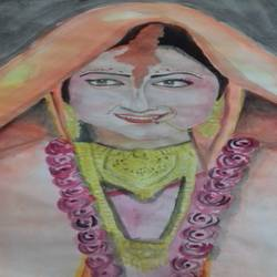 the lady , 14 x 11 inch, tanaya kundu,paintings,figurative paintings,paintings for bedroom,paper,watercolor,14x11inch,GAL0457510343