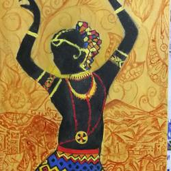 dancing lady, 10 x 22 inch, sagar jakz,paintings,modern art paintings,paintings for living room,canvas board,oil,10x22inch,GAL0457010346