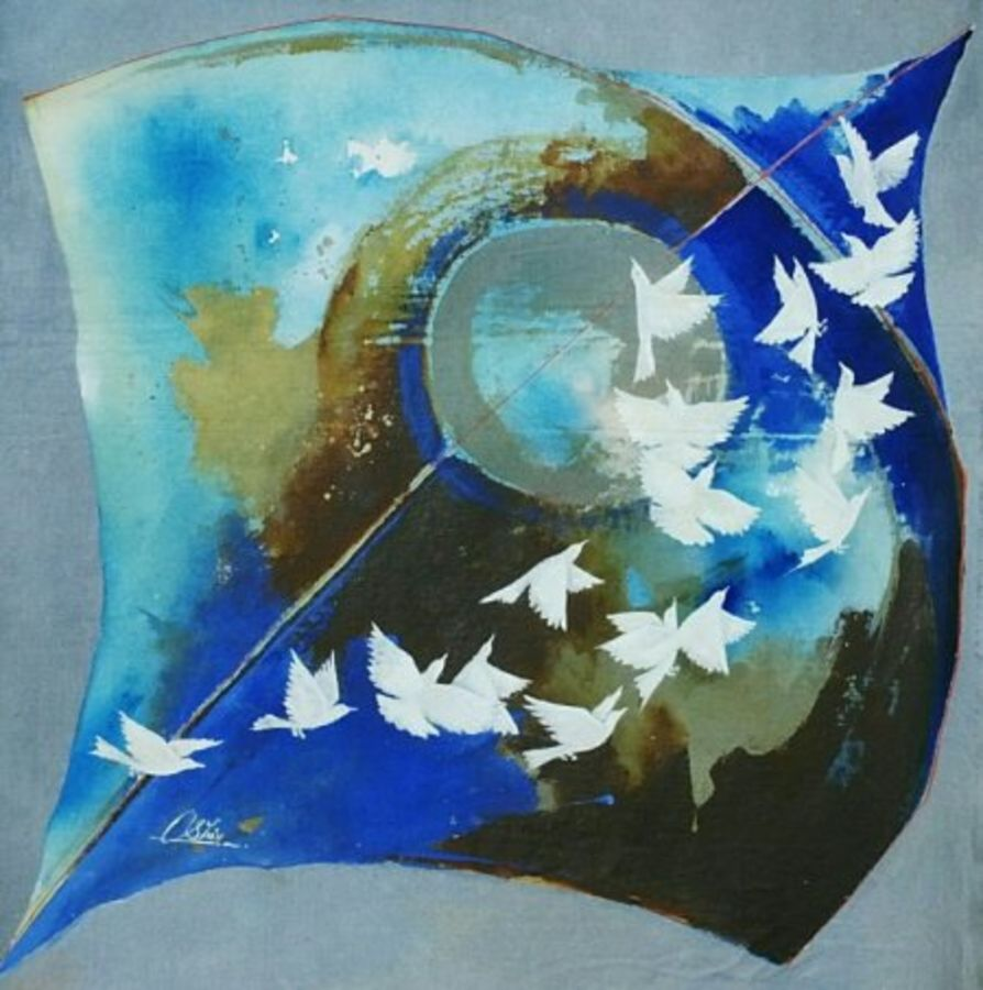 kite and birds blue, 20 x 20 inch, shiv kumar soni,conceptual paintings,paintings for living room,canvas,acrylic color,20x20inch,GAL0301035