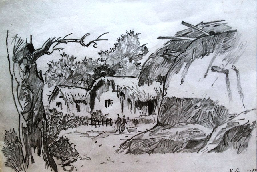 village side, 16 x 12 inch, suddha  basu,illustration paintings,paintings for dining room,drawings,conceptual drawings,canvas board,watercolor,16x12inch,GAL0458110352