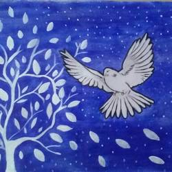 dove, 18 x 20 inch, chindu sudheer,paintings,animal paintings,paintings for living room,paper,acrylic color,18x20inch,GAL0442210364