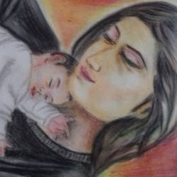 unconditional love, 14 x 11 inch, tanaya kundu,paintings,portrait paintings,paintings for living room,paper,pastel color,14x11inch,GAL0458510370