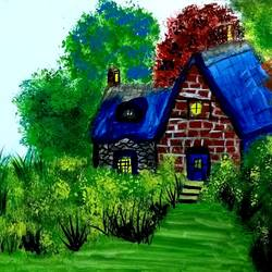 cartoon house, 10 x 7 inch, suganya naveenkumar,paintings,cityscape paintings,paintings for living room,thick paper,poster color,10x7inch,GAL0456310381