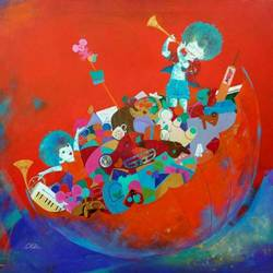 the treasure of childhood, 30 x 30 inch, shiv kumar soni,conceptual paintings,paintings for living room,canvas,acrylic color,30x30inch,GAL0301039