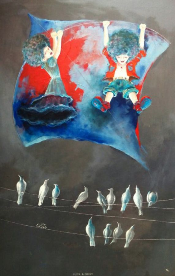 he childhood swinging with kite, 24 x 36 inch, shiv kumar soni,figurative paintings,conceptual paintings,paintings for living room,canvas,acrylic color,24x36inch,GAL0301041