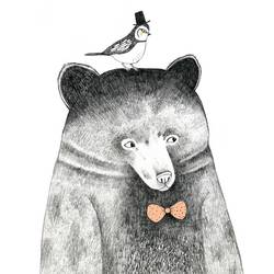 Bear with bird art print by Gallerist