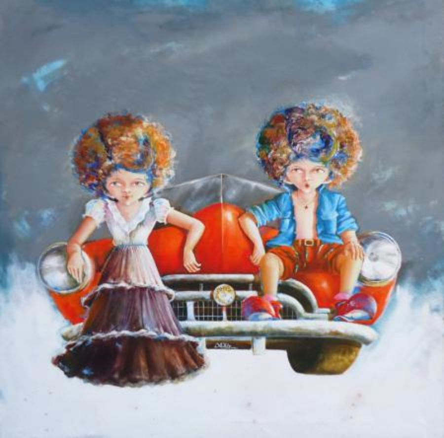 puppy and chicky on ride, 30 x 30 inch, shiv kumar soni,figurative paintings,conceptual paintings,paintings for living room,canvas,acrylic color,30x30inch,GAL0301043