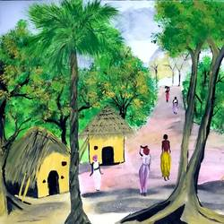 south african village, 13 x 10 inch, suganya naveenkumar,paintings,realistic paintings,paintings for living room,ivory sheet,poster color,13x10inch,GAL0456310435