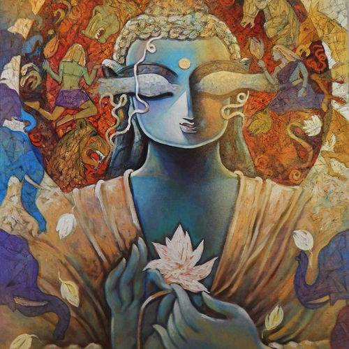 gautam buddha - peace, 30 x 36 inch, subrata ghosh,buddha paintings,paintings for dining room,religious paintings,canvas,acrylic color,30x36inch,GAL04021045
