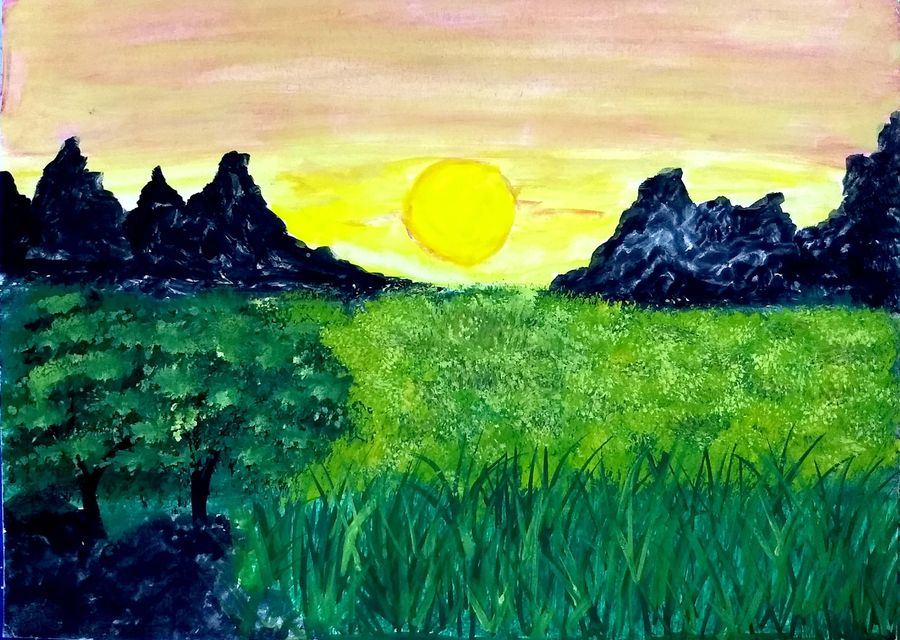 mountain valley sunset, 10 x 7 inch, suganya naveenkumar,paintings,nature paintings,paintings for living room,ivory sheet,poster color,10x7inch,GAL0456310456Nature,environment,Beauty,scenery,greenery