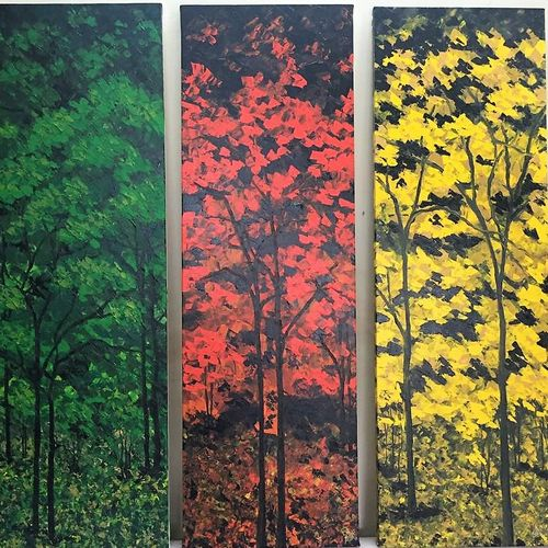 seasons, 42 x 44 inch, shilpi singh patel,paintings,multi piece paintings,paintings for hotel,canvas,acrylic color,42x44inch,GAL045510458