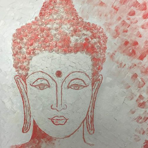 gautam, 20 x 24 inch, shilpi singh patel,paintings,buddha paintings,paintings for hotel,canvas,oil,20x24inch,religious,peace,meditation,meditating,gautam,goutam,buddha,lord,red,face,GAL045510460