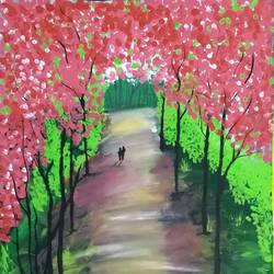 pink trees , 12 x 16 inch, suganya naveenkumar,paintings,nature paintings,paintings for living room,thick paper,poster color,12x16inch,GAL0456310473Nature,environment,Beauty,scenery,greenery