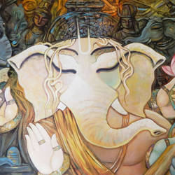 bhuwanpati, 48 x 36 inch, subrata ghosh,ganesha paintings,paintings for living room,religious paintings,canvas,acrylic color,48x36inch,GAL04021048,vinayak,ekadanta,ganpati,lambodar,peace,devotion,religious,lord ganesha,lordganpati