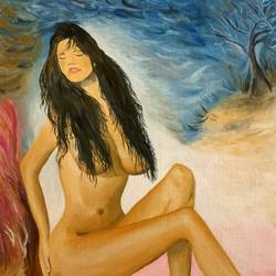 the nude young girl, 16 x 20 inch, sujata mohite,paintings,love paintings,paintings for bedroom,canvas board,oil,16x20inch,GAL0419210481