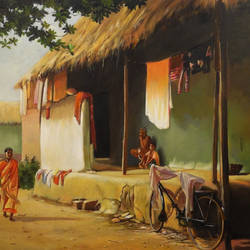 village life, 36 x 24 inch, krishnapada paul,paintings,paintings for living room,realistic paintings,canvas,acrylic color,36x24inch,GAL0264510482