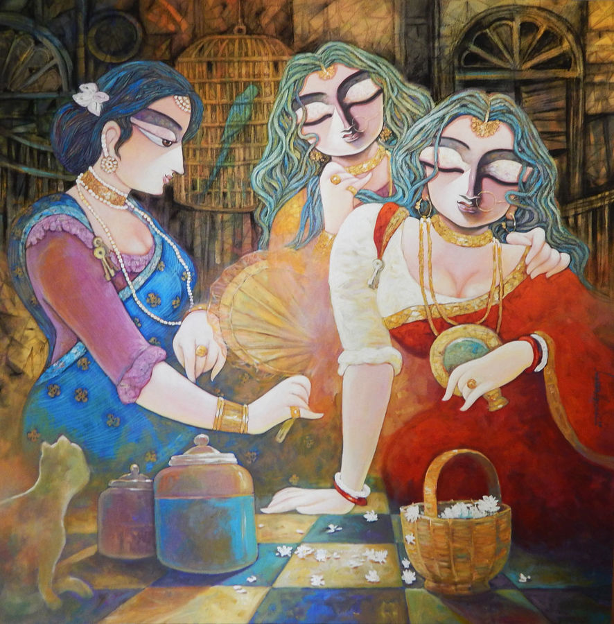 tin kanya, 48 x 48 inch, subrata ghosh,figurative paintings,paintings for dining room,canvas,acrylic color,48x48inch,GAL04021049