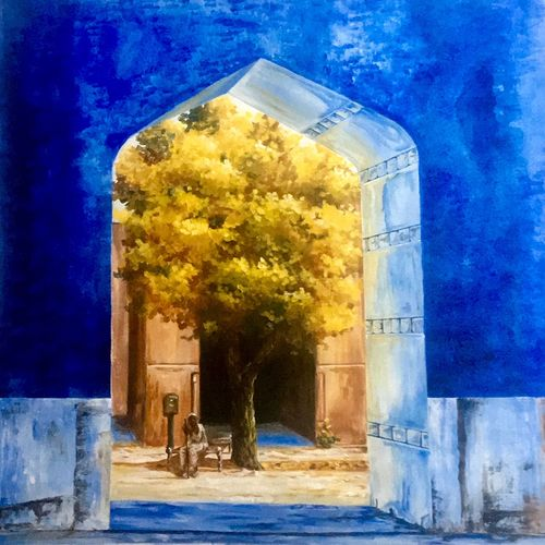 entrance, 26 x 26 inch, priyanka dutt,paintings,impressionist paintings,paintings for office,canvas,acrylic color,26x26inch,GAL087910499