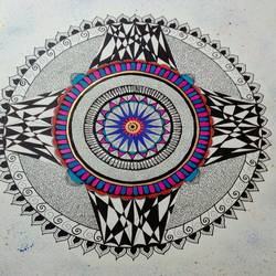 mandala, 26 x 20 inch, sweta gaitonde,drawings,art deco drawings,paintings for living room,cartridge paper,mixed media,26x20inch,GAL0313910509